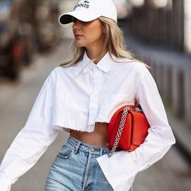 Long-sleeved Design White  Cotton Shirt  NSYSB45263