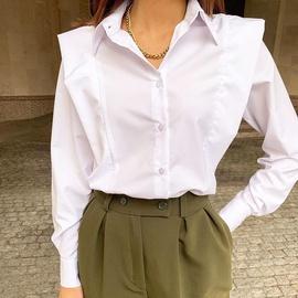 Ruffled Lapel Long-sleeved Cotton Shirt NSYSB45270