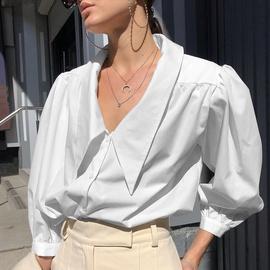 Lapel Puff Sleeve Shirt  NSYSB45297