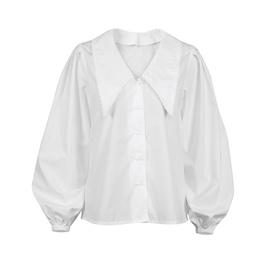 Lantern Sleeve Stitching Lace White Shirt NSYSB45309