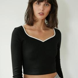 Slim V-neck Black Knit Top NSYSB45310