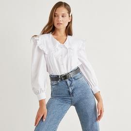 Doll Collar Lantern Sleeve White Shirt  NSYSB45313