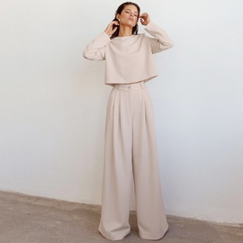 Round Neck Shirt Wide-leg Pants Two-piece Suit  NSYSB45314
