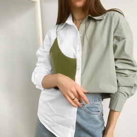 Contrast Color Stitching PU Leather Shirt  NSYSB45327