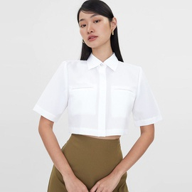 Pocket White Cropped Shirt NSYSB45334
