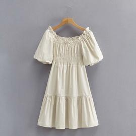Retro Fashion Thin Waist Elastic Pleated Dress NSAM45433