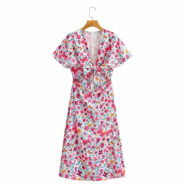 V-neck Printed Dress NSAM45434