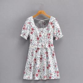Flower Print Square Neck Dress NSAM45435