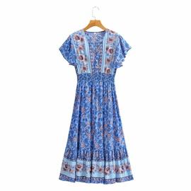 Elastic Waist Slimming V-neck Short-sleeved Dress NSAM45444