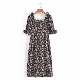Spring Square Neck Printed Dress NSAM45450