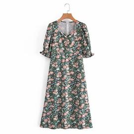 Spring Long Floral Split Dress NSAM45454