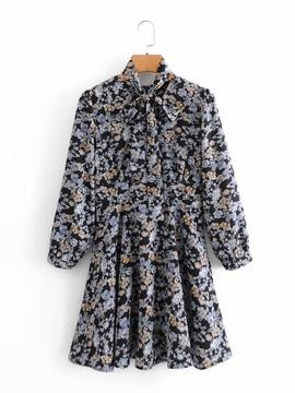 Retro Small Floral Print V-neck Dress  NSAM45463
