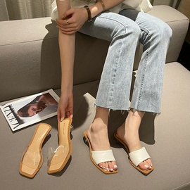 Fashion Solid Color Clear Ball  Heeled Sandals NSCA45490