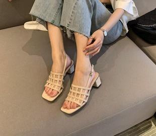 Thick-heeled Mesh Buckle Belt Sandals NSCA45493