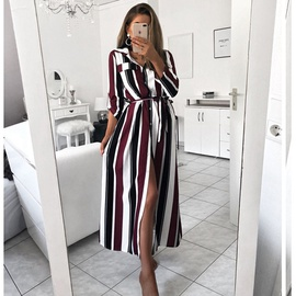 New Style Striped Long-sleeved Tie Dress NSAXE45555