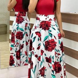Flower Print Color Matching Dress NSAXE45558