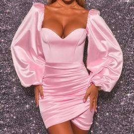 Sexy Breast-wrapped Long-sleeved Fold Dress NSLAI45645
