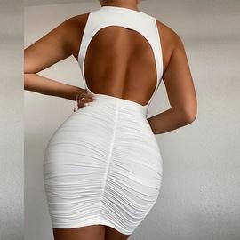 Fashion Sleeveless Hollow Open Back Pleated Dress NSLAI45646