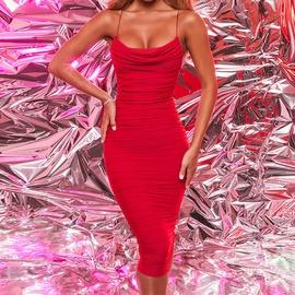 Solid Color Pleated Sleeveless Sling Dress NSLAI45647
