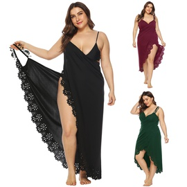 Stitching Hollow Flower Beach Dress NSOY45931
