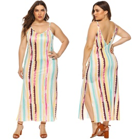 Plus Size Stripe Printing Sexy Open Back Dress NSOY45960