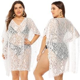 Plus Size Stitching White V-neck Lace Blouse NSOY45968