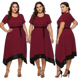 Large-size Tie Bow Stitching Dress NSOY45982