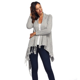 Irregular Fringed Long-sleeved Cardigan NSOY45989