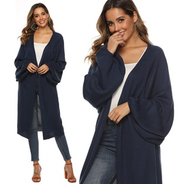Bat Sleeve Loose Mid-length Woven Cardigan  NSOY45996