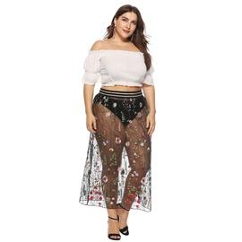 Plus Size Floral Decor Lace Semi Skirt NSOY46090