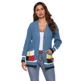 Color Matching Large Pockets Woven Cardigan NSOY46131
