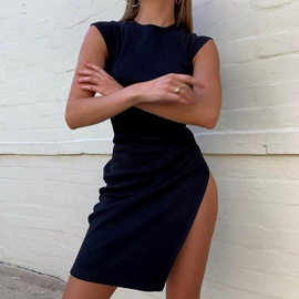 Fashion Sexy Side Split Knit Dress NSAC38913