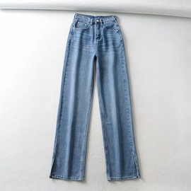 Fashion Retro High Waist Split Jeans NSAC38915