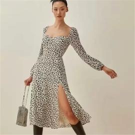 Square Collar Pleated Split Leopard Print Dress NSAC38920