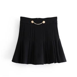 High Waist Pleated Shorts Skirt  NSAM38933