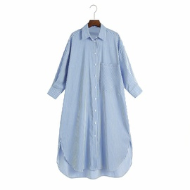 Spring Loose Striped Shirt Dress  NSAM38946