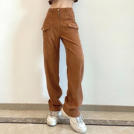 Loose Fashion Corduroy High Waist Casual Pants NSLQ38973