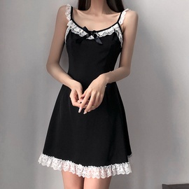 Lace Stitching Bow Sexy Suspender Dress NSLQ38978
