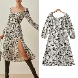Leopard Print Long Sleeve Square Neck Dress  NSLD39013