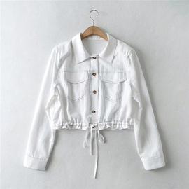 Top-line Decoration Lapel Short Denim Jacket  NSLD39012