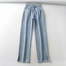 Hem Split Design Straight Jeans  NSLD39015