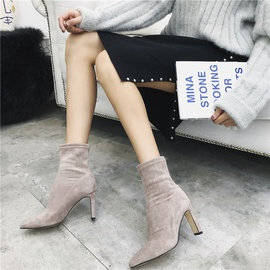 Pointed High Heel Pointed Short Boots  NSHU39108