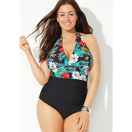 Plus Size Printed Backless One-piece Swimsuit  NSHL39145