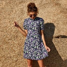 Short Sleeve Round Neck High Waist Short Dress  NSLM39180