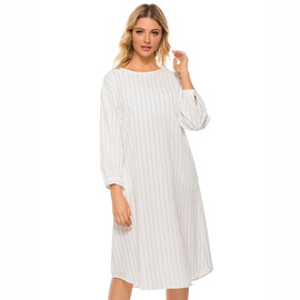 Round Neck Long-sleeved Casual Simple Striped Dress NSJR39183