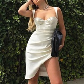 Sexy Pleated Side Slit Suspender Long Dress   NSHS39195