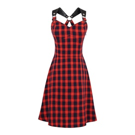 Punk Style PU Stitching Plaid Print Suspender Dress NSSE39228
