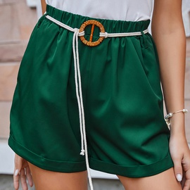Green With Belt Mid-waist Loose Shorts NSDF39254