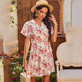 Printed V-neck Short-sleeved Strapped Casual Loose Dress NSDF39255