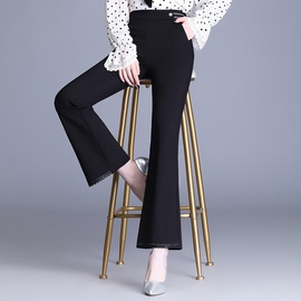 Slim Mid-high-waist Lace Hem Trousers NSYZ39257